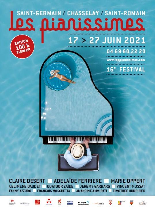 Affiche festival LES PIANISSIMES du 17 au 27 juin 2021